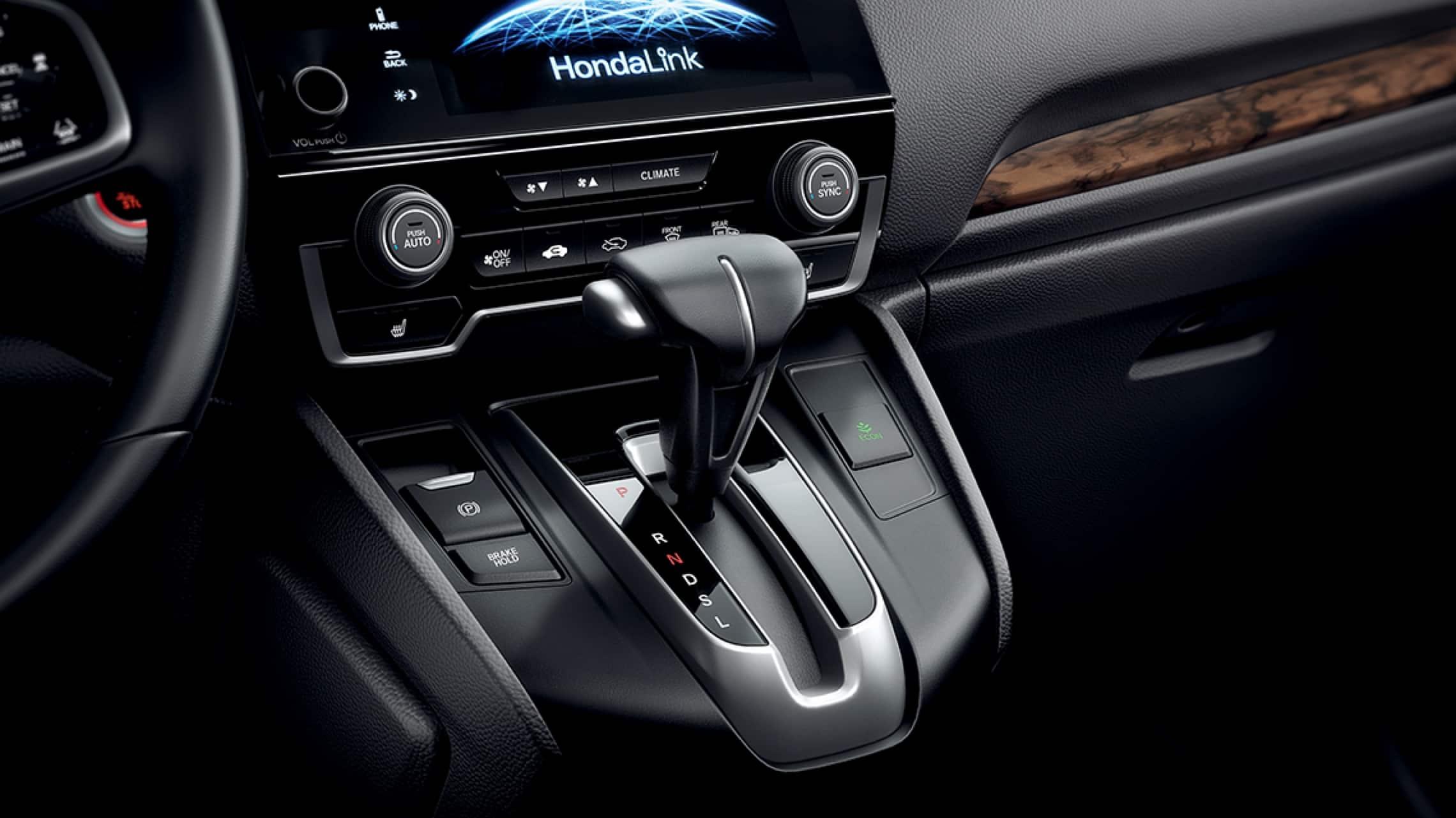 Vista interior del freno de estacionamiento eléctrico de la Honda CR-V2019.