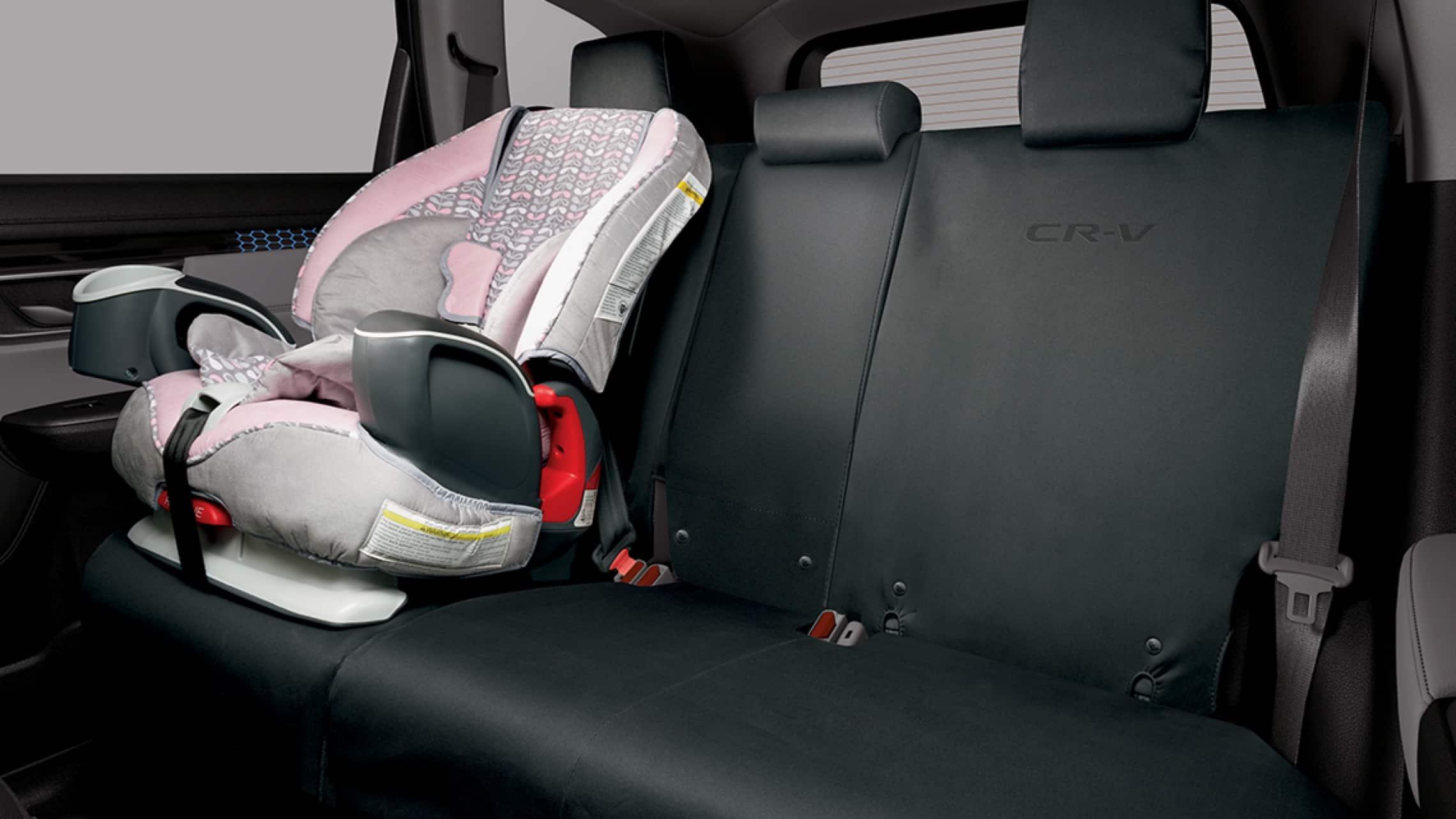Interior de la Honda CR-V2019 con accesorio de cubiertas para asiento trasero originales de Honda.