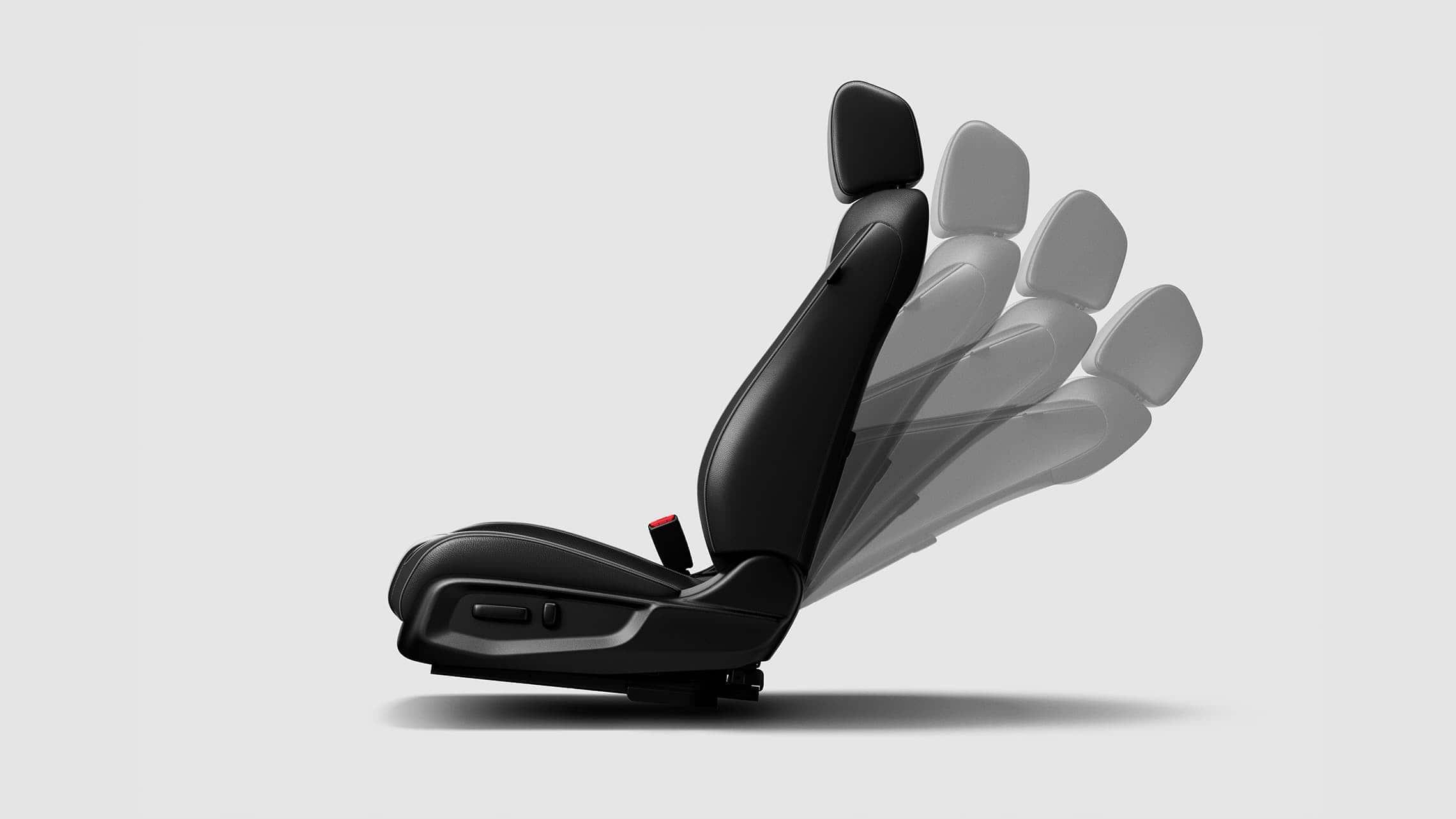 Detalle de los ajustes en varias posiciones del asiento del conductor con ajuste eléctrico de 8 posiciones para el Honda Civic Touring Sedán2020.