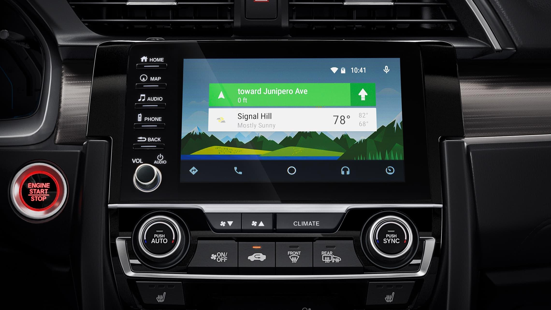 Detalle de Android Auto™ en el sistema de audio en pantalla táctil del Honda Civic Touring Sedán2020.