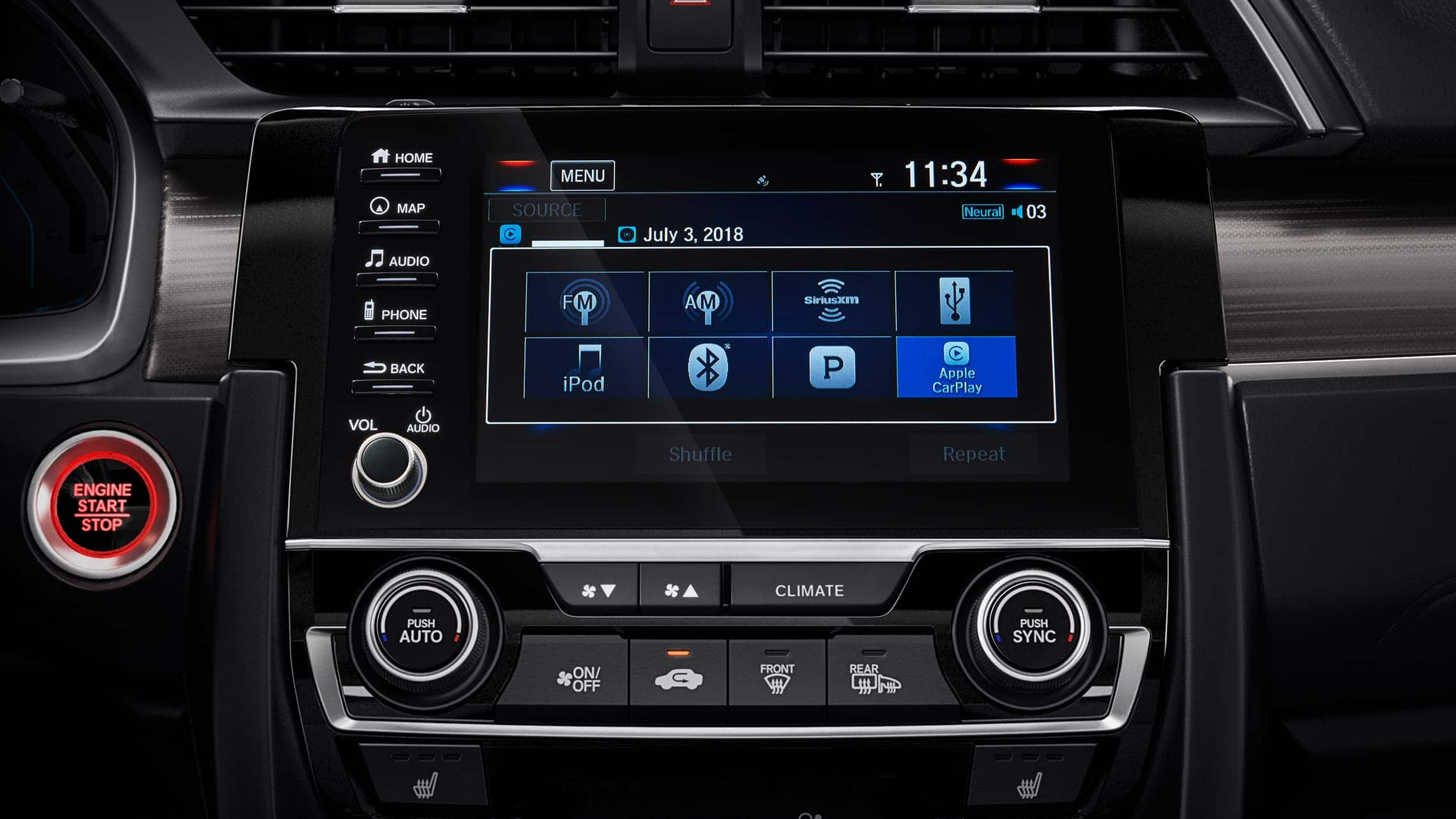 Detalle del sistema de audio en pantalla táctil del Honda Civic Touring Sedán2020.