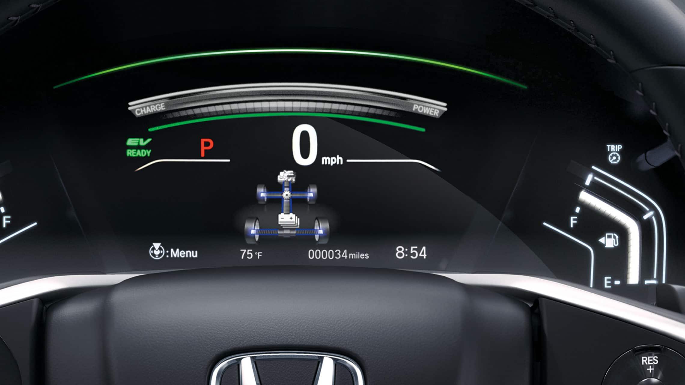 Vista detallada de la pantalla de la interfaz de información para el conductor de la CR-V Hybrid2020 con monitor de flujo de potencia.
