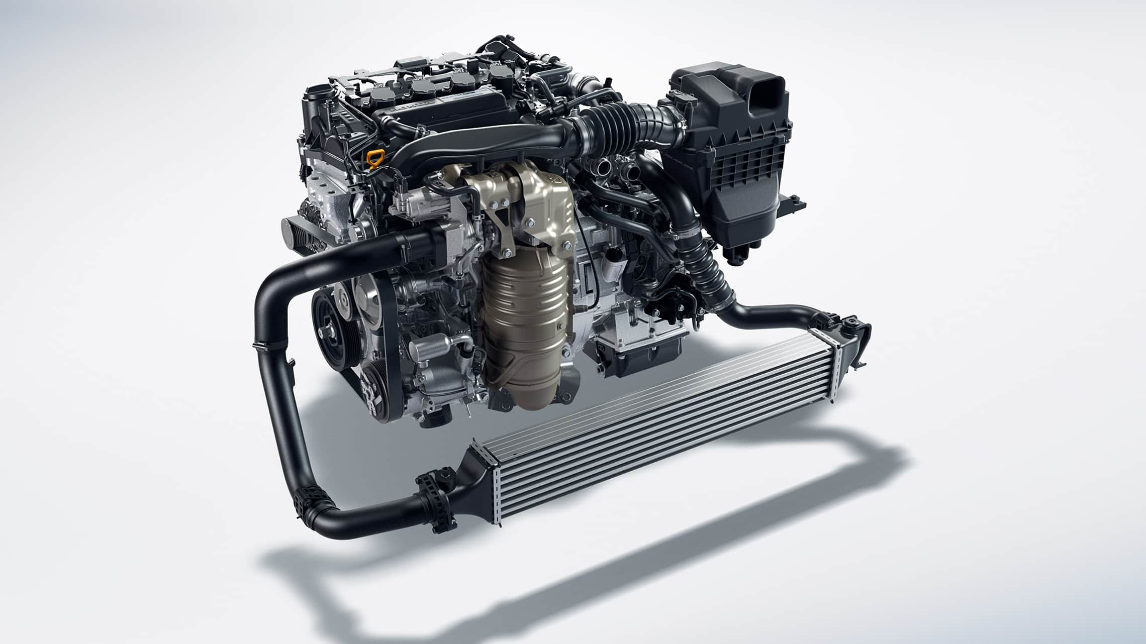 1.5-liter turbocharged engine detail in the 2020 Honda Civic Coupe.