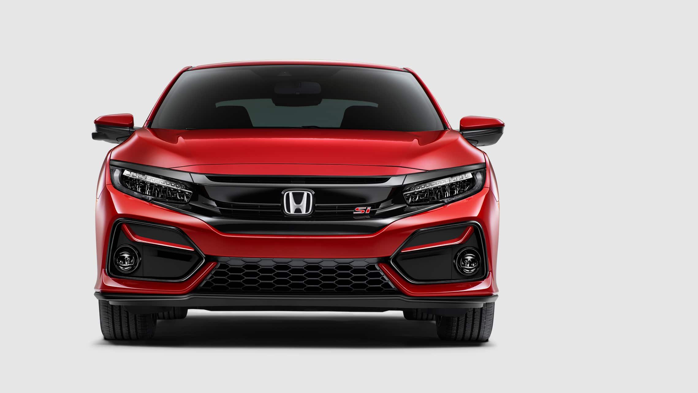 Detalle de la rejilla delantera del Honda Civic Si Coupé2020 en Rallye Red.