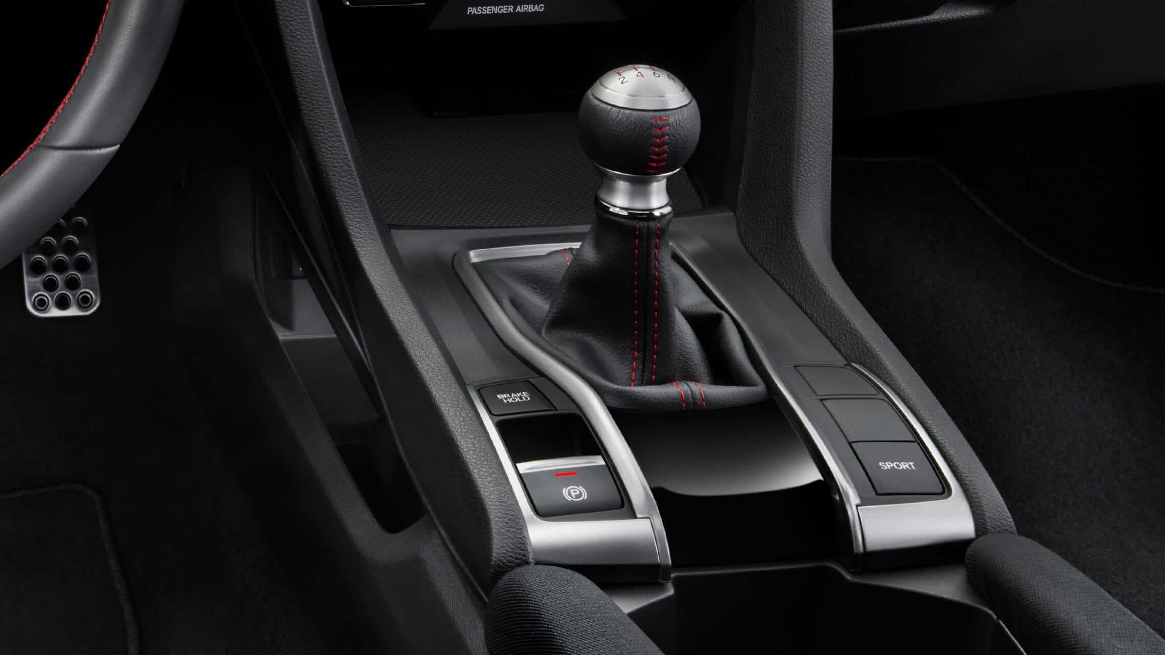 Detalle del mando de transmisión manual de 6velocidades con controles de modo de conducción en el Honda Civic Si Coupé2020.