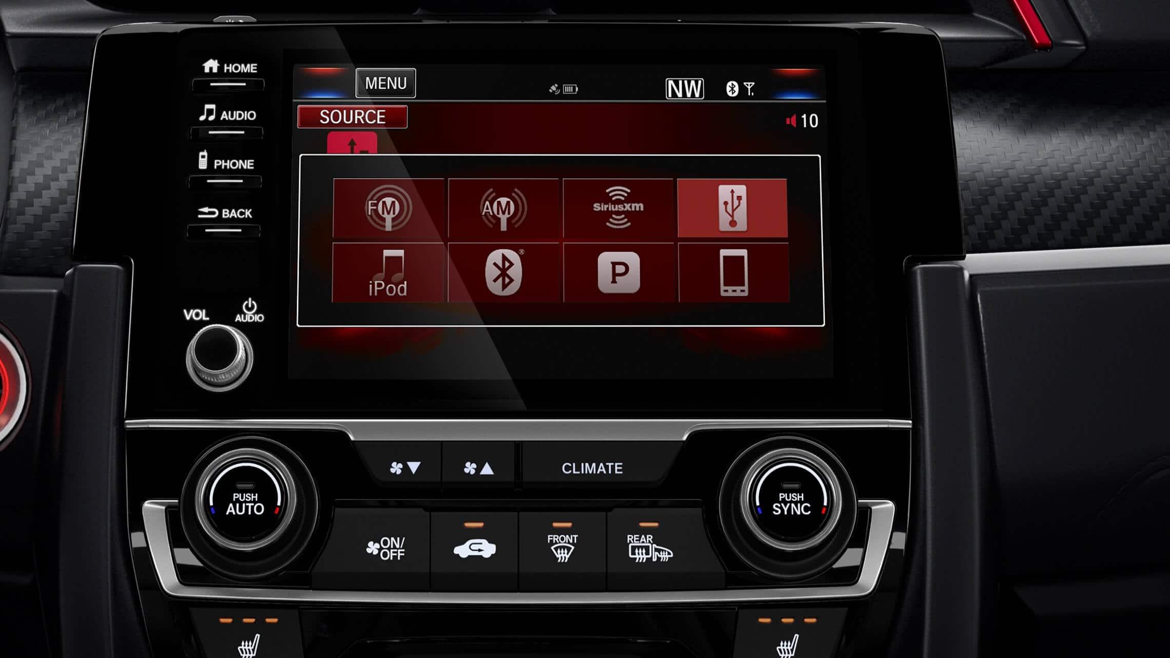 Detalle de la pantalla táctil del sistema de audio en el Honda Civic Si Coupé2020.
