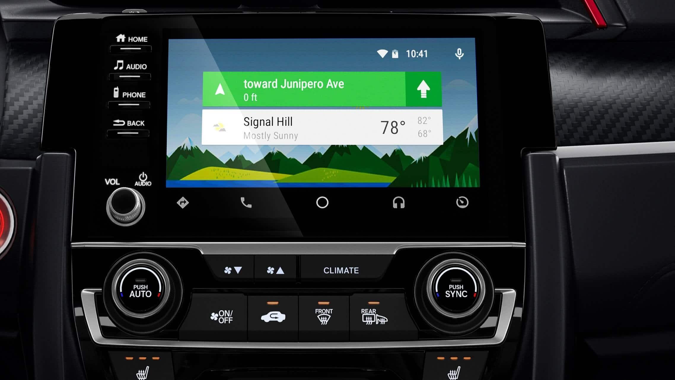 Detalle de Android Auto™ en la pantalla táctil del sistema de audio del Honda Civic Si Coupé2020.