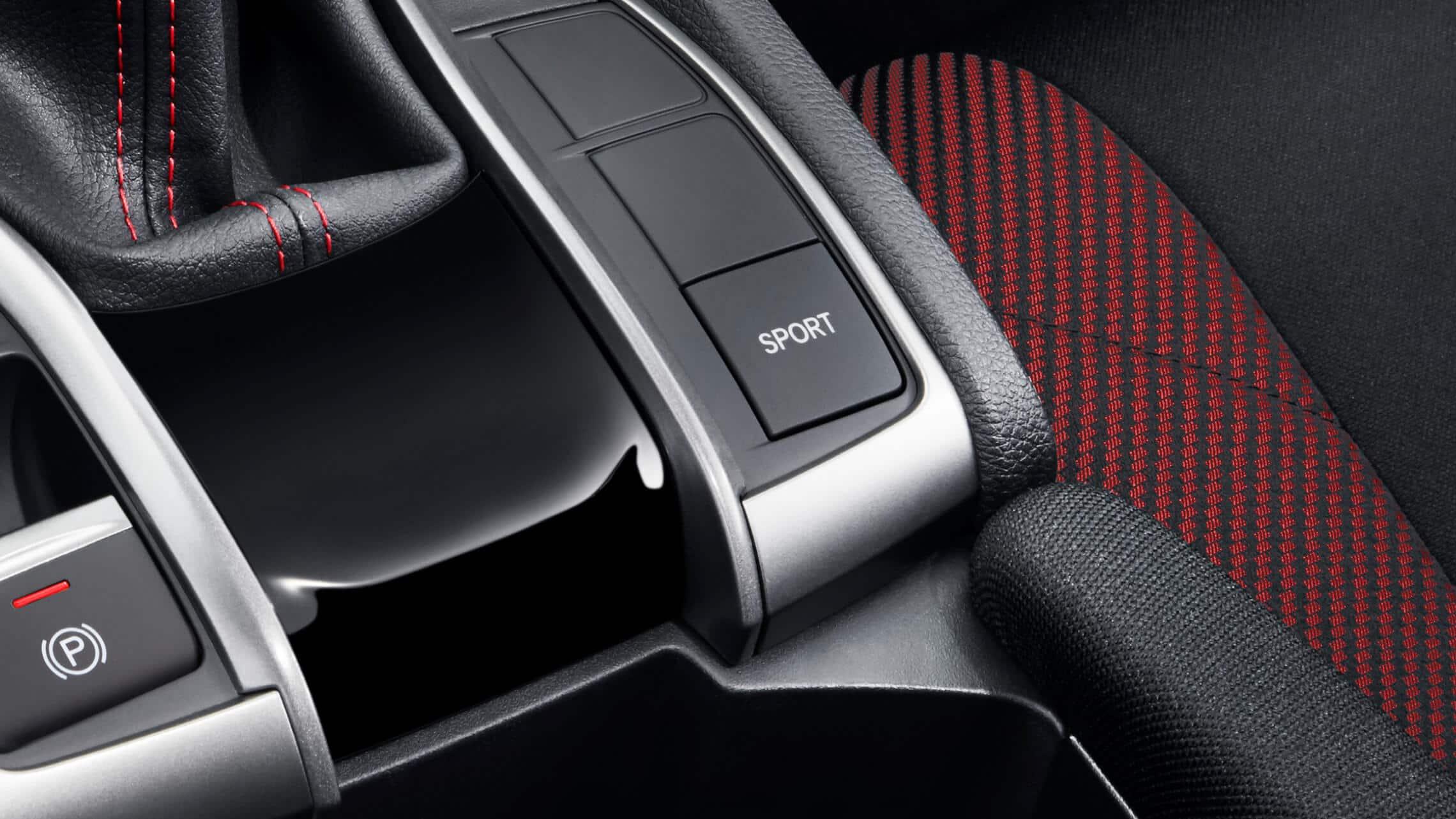 Detalle del botón del modo Sport en el Honda Civic Si Sedán2020.