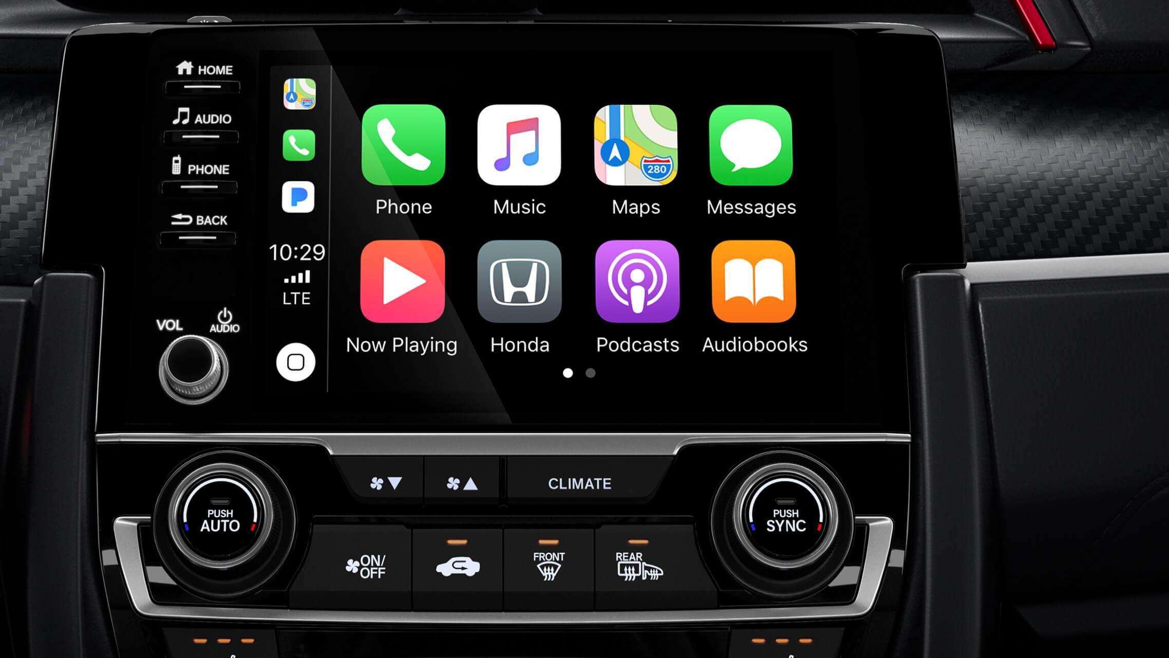 Detalle de Apple CarPlay® en el sistema de audio en pantalla táctil de 7pulgadas del Honda Civic Si Sedán2020.