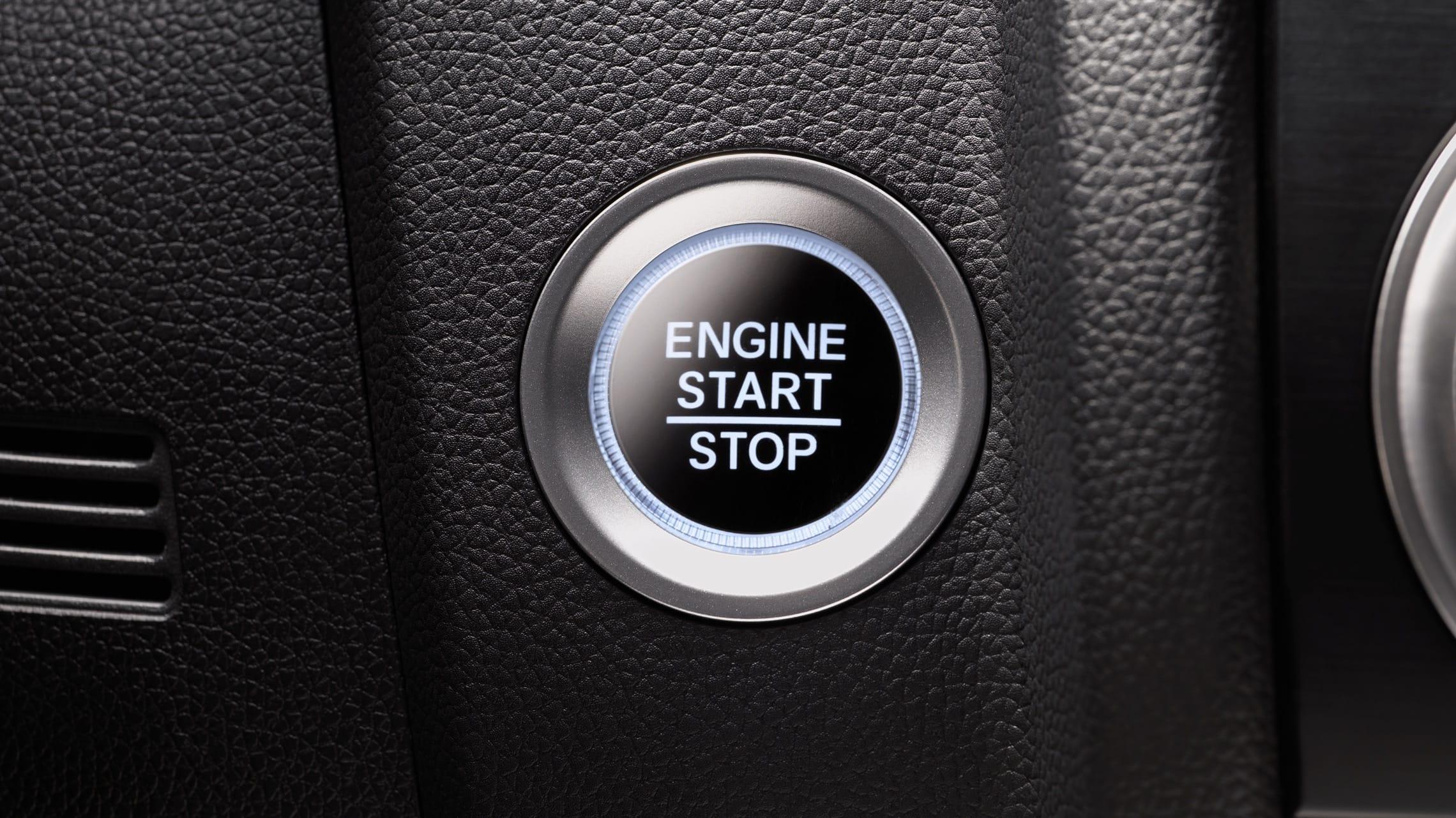 Detalle del botón de arranque en el Honda Fit2020.
