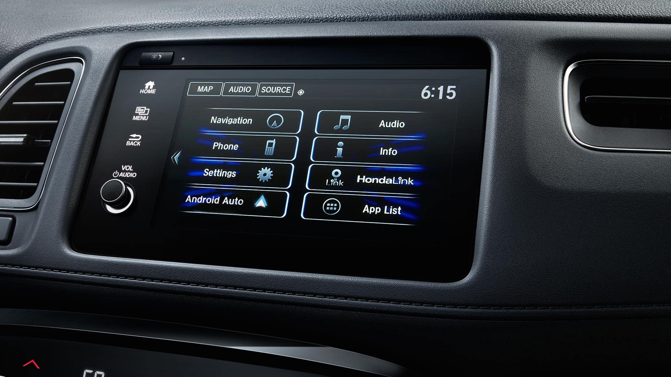 Detalle de Android Auto™ en el sistema de audio con pantalla táctil de la Honda HR-V Touring 2020.