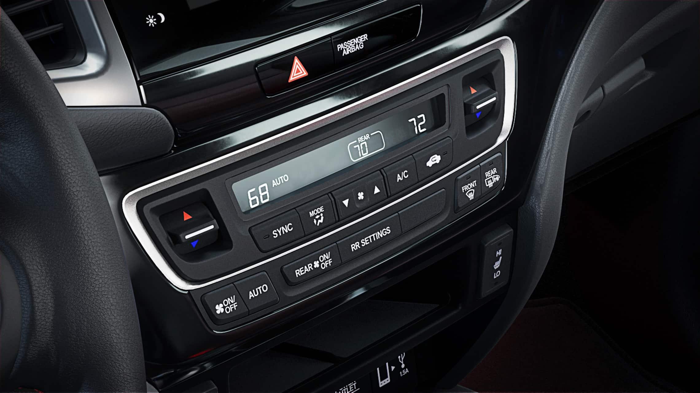 Detalle del control de clima de tres zonas en la Honda Ridgeline2020.