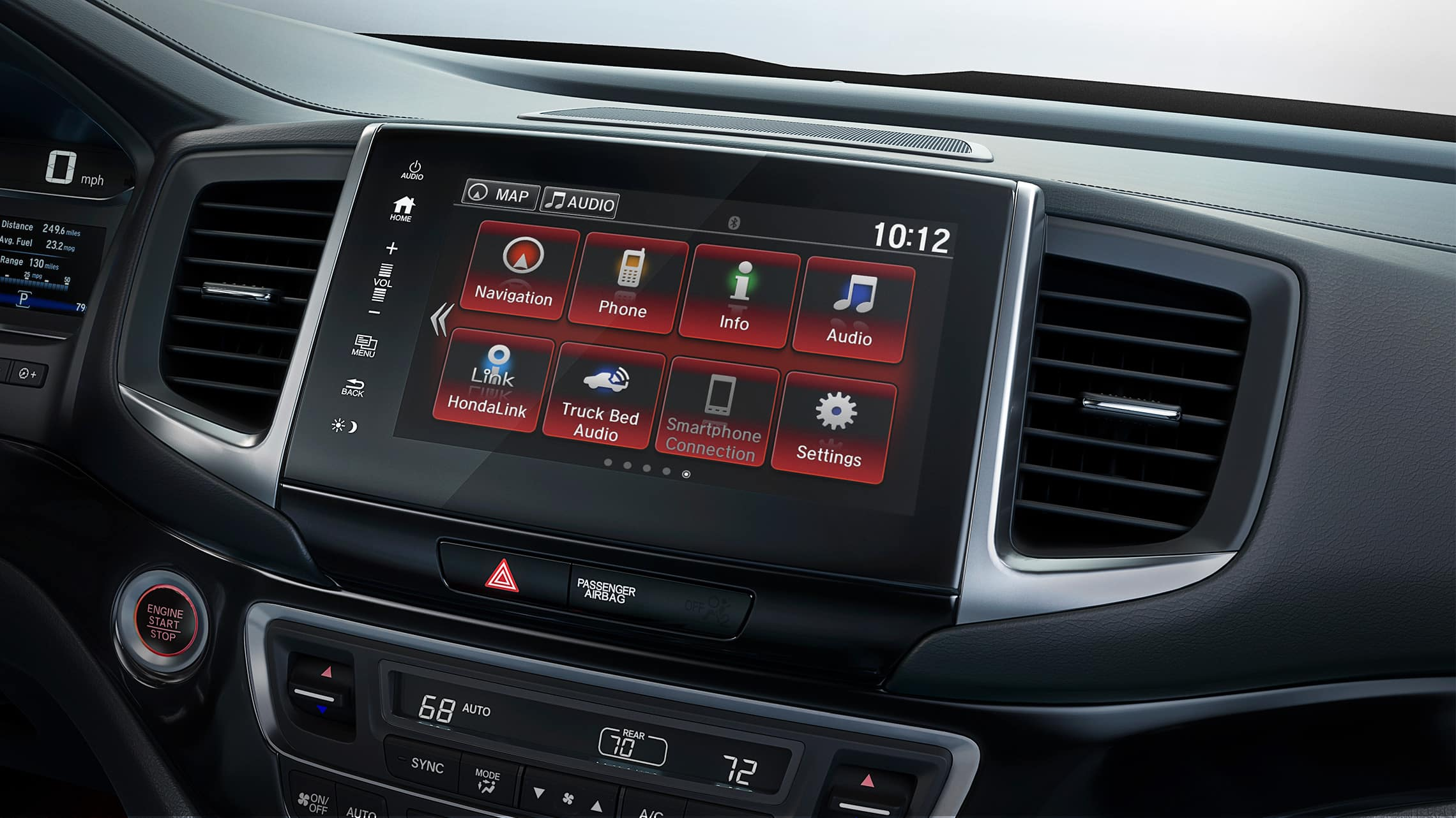 Detalle del sistema de audio en pantalla táctil en la Honda Ridgeline Black Edition2020.