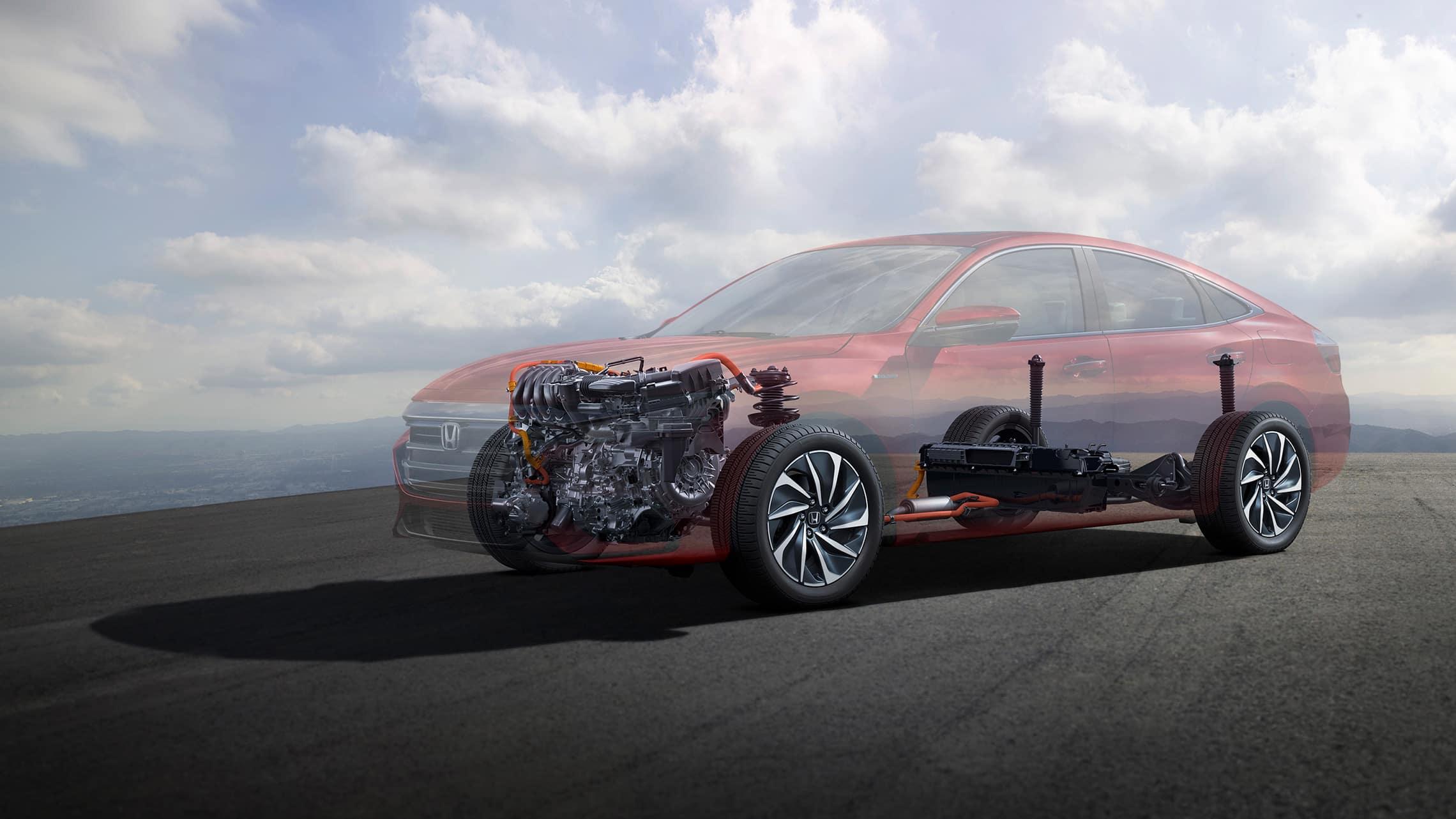 Vista frontal desde el lado del conductor del detalle del chasis, motor y tren impulsor del Honda Insight Touring2021.