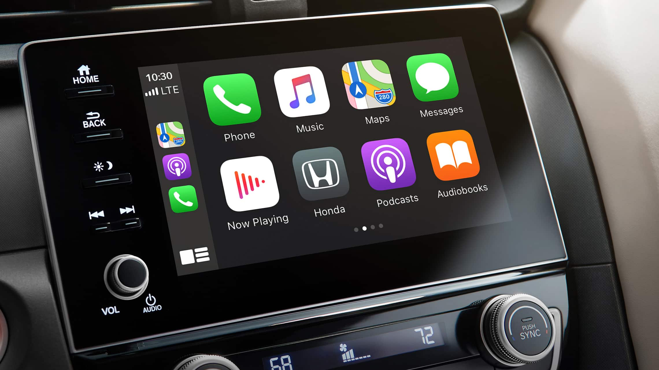 Detalle de la pantalla de inicio de Apple CarPlay® en el sistema de audio en pantalla táctil del Honda Insight Touring2021.